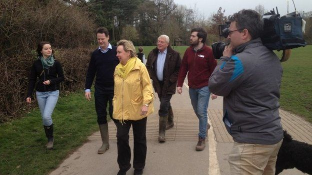 Lib Dem leader Nick Clegg campaigning in the Midlands