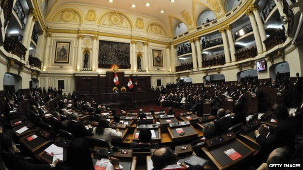 Peruvian President Ollanta Humala speaks at the Congress building in Lima on 28 July, 2012.