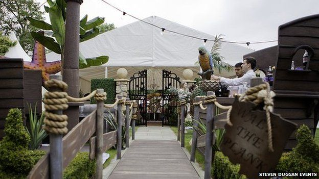 """""""Walk the plank"""" party entrance"""