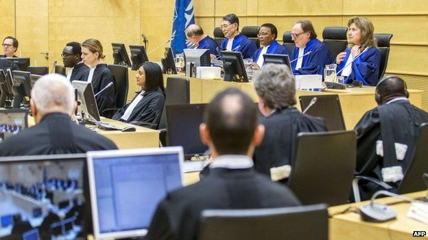 Judges and lawyers attend a trial at the International Criminal Court (ICC) at The Hague (27 February 2015)