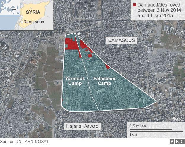 Satellite image showing Yarmouk camp