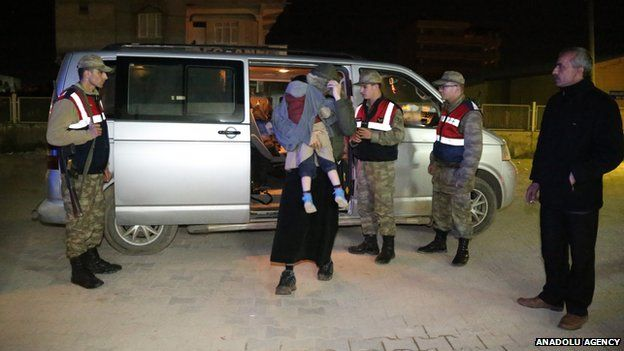 Car holding some of the nine British nationals who were detained by Turkish security forces as they tried to cross the border on on 2nd Apr 2015