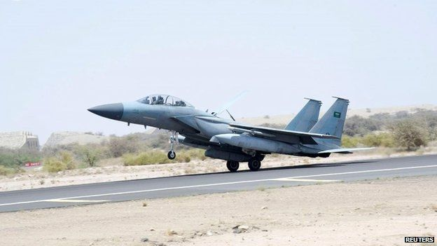 A jet takes off to participate in the Saudi-led air strikes on Yemen