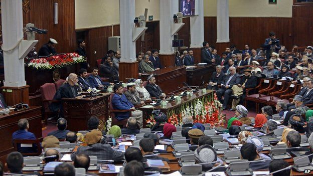 Ashraf Ghani, center left, speaking at a new session of parliament in Kabul, Afghanistan on 7 March, 2015