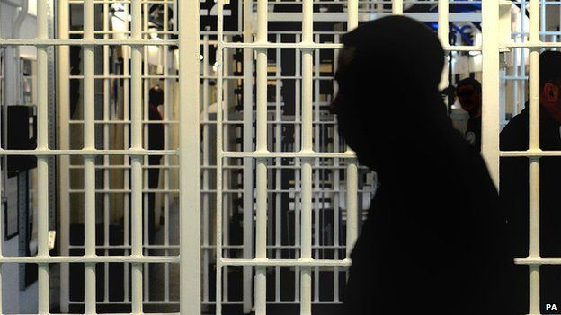 Silhouette of a man in prison