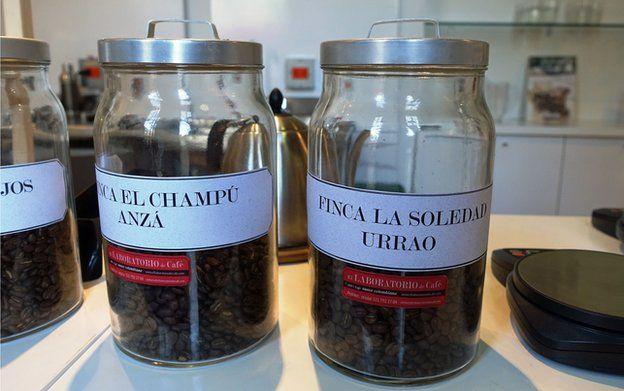 Jars of coffee beans