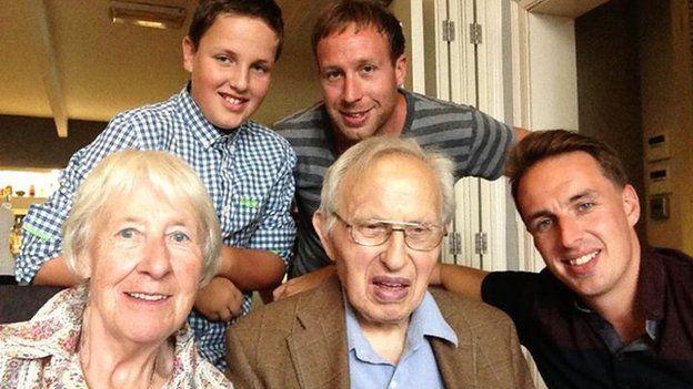 Sam and Chris Ogrizovic with their grandfather Nick and grandmother Maureen