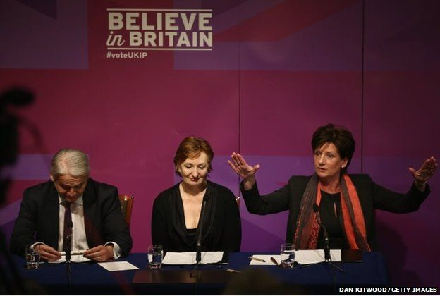 UKIP Deputy Chairman Suzanne Evans (centre) Diane James, (right) UKIP Councillor and Patrick O,Flynn, UKIP candidate in Cambridge take part in a press conference in London, England