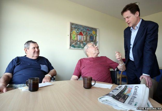 Leader of the Liberal Democrats Nick Clegg meets patients and staff at Bodmin Community Hospital in Cornwall