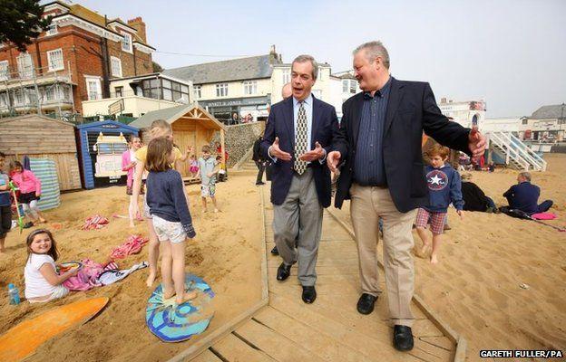 UKIP Leader Nigel Farage (left) with prospective Councillor George Rusiecki