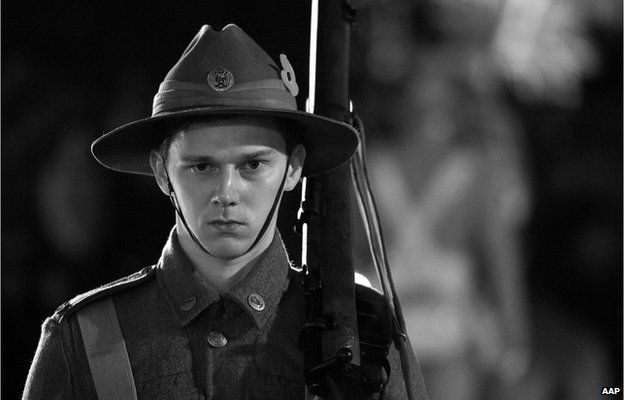One of the Catafalque guards on the Cenotaph during the Wellington Anzac Day Service in Wellington, Friday, 25 April 2014.