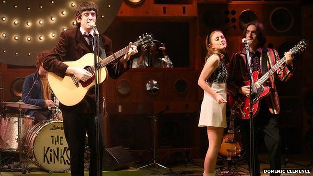 John Dagleish who plays Ray (left) and George Maguire who plays Dave (far right) with Lillie Flynn as Rasa in Sunny Afternoon