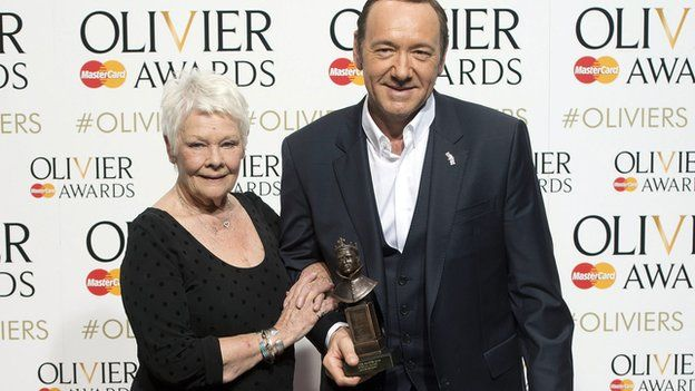 Dame Judi Dench presented the the special award to Kevin Spacey for his 10-year tenure at the Old Vic
