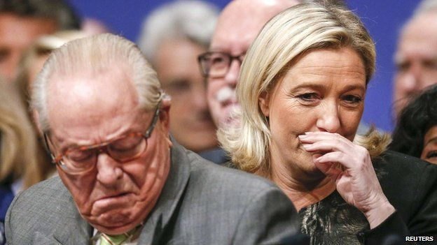 Marine Le Pen (R) and Jean-Marie Le Pen attend their party congress in Lyon on 30 November 2014