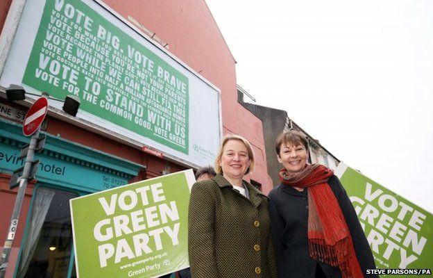 Green Party leader Natalie Bennett (left) with Brighton Pavilion parliamentary candidate Caroline Lucas