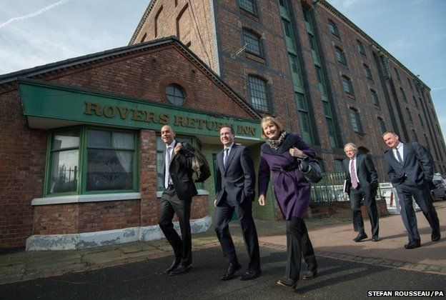 Members of the shadow cabinet arrive at the Granada TV studios in Manchester