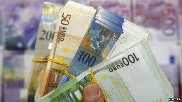 Swiss franc and euro banknotes