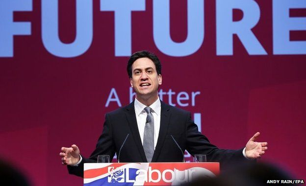 Labour Party leader Ed Miliband delivers a s speech at his party's manifesto launch in Manchester, Britain