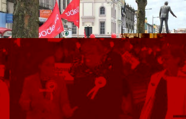 Comedian Eddie Izzard on the campaign trail for Labour in Cardiff