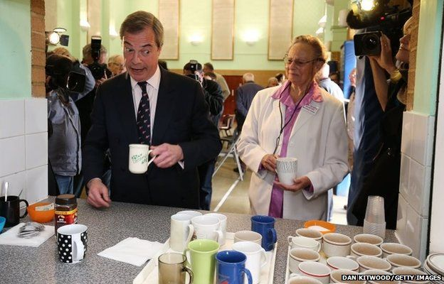 UKIP leader Nigel Farage attends a coffee morning at Coppins Community Centre