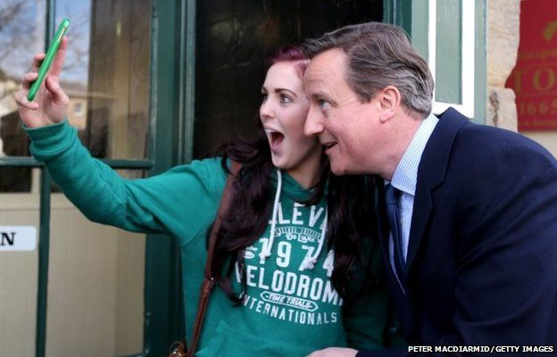 Prime Minister David Cameron poses for a selfie