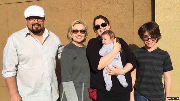 Twitter image from Hillary Clinton of family she met on way to Iowa
