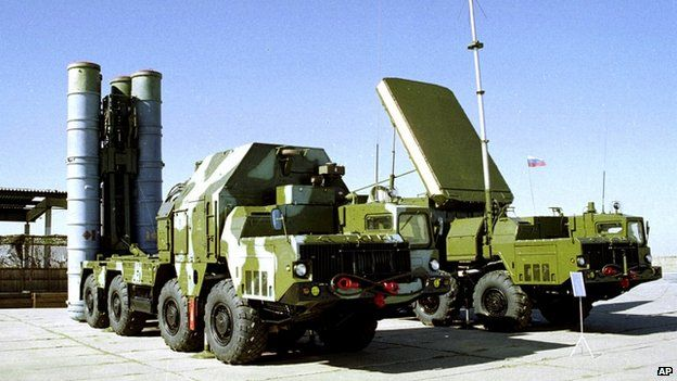 In this undated file photo a Russian S-300 anti-aircraft missile system is on display at an undisclosed location in Russia