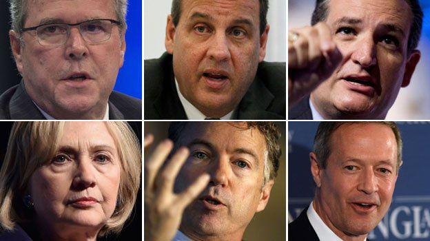 Clockwise from top left: Jeb Bush, Chris Christie, Ted Cruz, Martin O'Malley, Rand Paul, Hillary Clinton