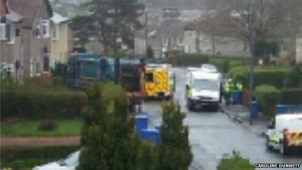 Scene of bin lorry crash in Glasgow