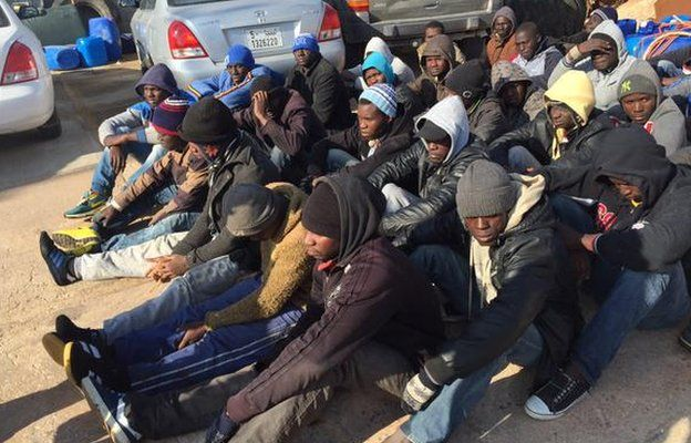 A group of migrants in Misrata