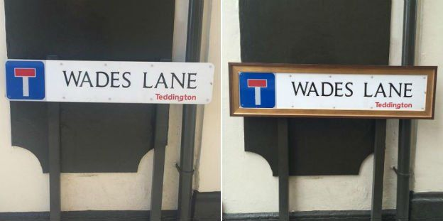 Wades Lane sign before and after
