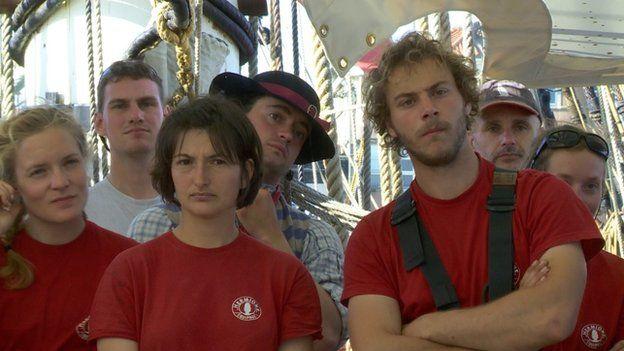 Volunteers on board the Hermione
