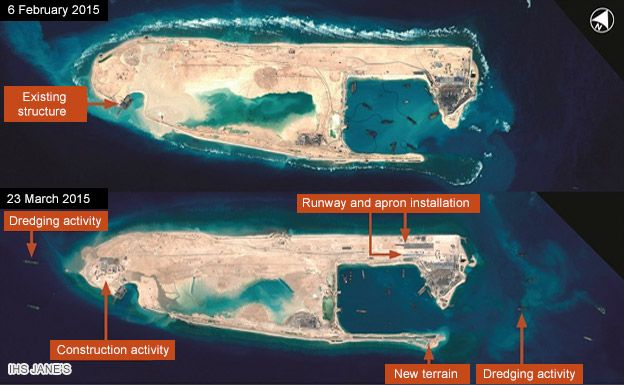 Satellite images of Fiery Cross Reef (CNES 2015, Distribution Airbus DS / Spot Image / IHS)