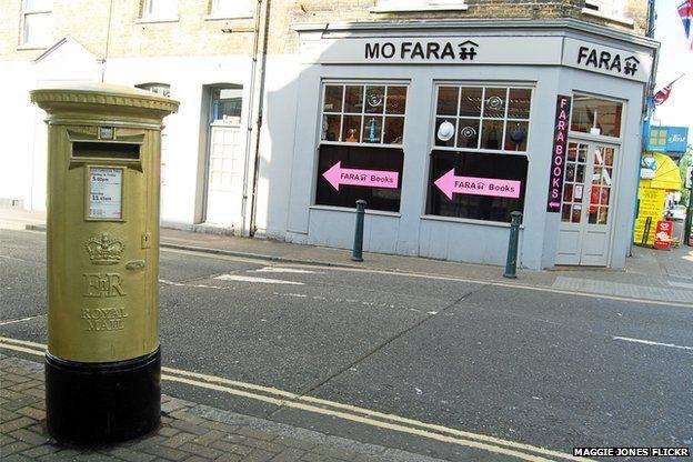 Mo Farah's gold post box