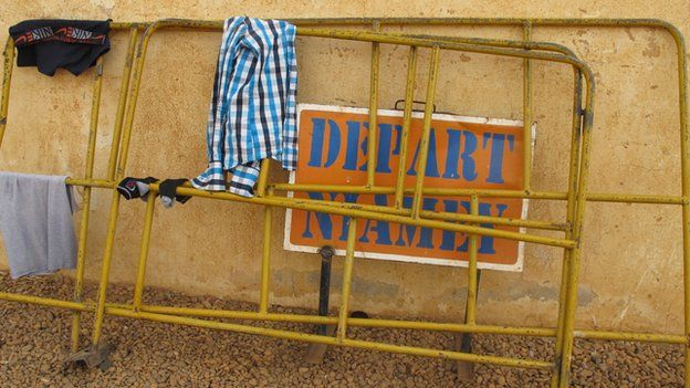 A rail at a bus station in Gao, Mali