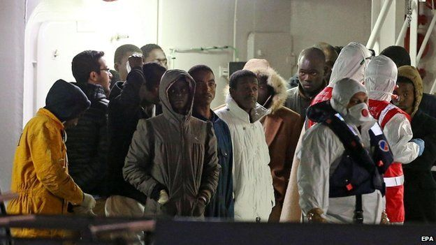 Survivors aboard Italian coastguard ship at Catania, Italy 21 April 2015