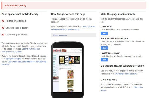 A website deemed non-mobile friendly by Google