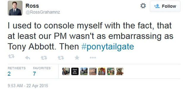Tweet on #ponytailgate