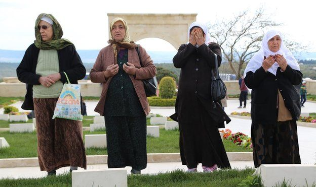 Women pay their respects at the Gallipoli Martyrs' Memorial