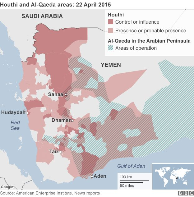 Map showing Houthi and al-Qaeda areas in Yemen (22 April 2015)