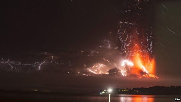 view of the Chilean Calbuco volcano from Puerto Montt, located some 1,000 km south of Santiago de Chile, Chile, 22 April 2015