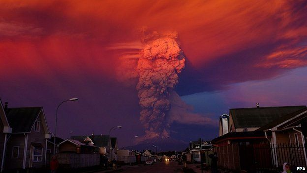 General view of Chilean Calbuco volcano from Puerto Montt, located at 1000 km southern Santiago de Chile, Chile, 22 April 2015
