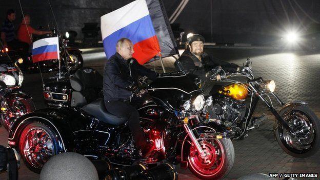 President Putin rides with the Night Wolves leader Alexander Zaldostanov 07 July 2009