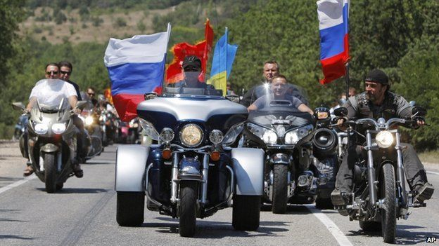 President Putin ride with the bikers in Crimea 24 July 2010