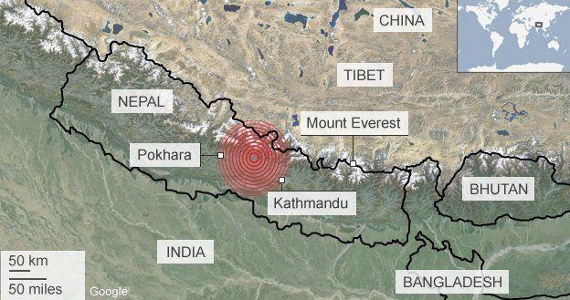 Nepal earthquake map