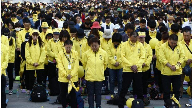 Relatives of Sewol ferry sinking victims and supporters gather during their protest at Gwanghwamun square in Seoul, South Korea, 25 April 2015.