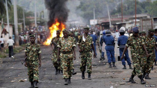 Soldiers in Bujumbura on 27 April 2015