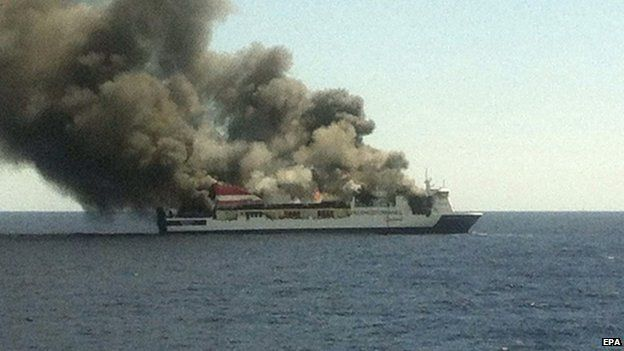 Passenger's picture after evacuating ferry