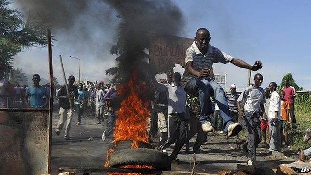 Some Burundians take to the streets as they demonstrate in Musaga, on 28 April 2015 on the outskirts of the capital Bujumbura