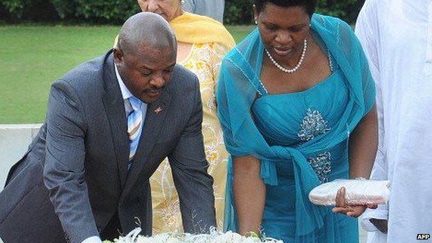 President of the Republic of Burundi Pierre Nkurunziza (L) and his wife Denise Bucumi Nkurunziza at a function in 2012